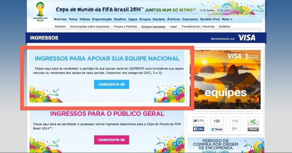 Após o usuário se registar, ele poderá acessar a página para compras de ingressos reservados a torcedores nacionais