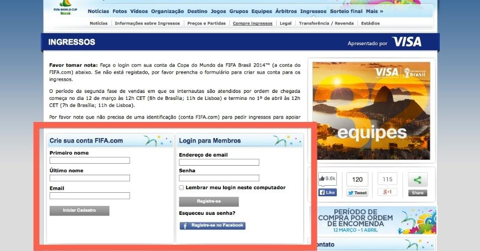 Já no site de venda de ingressos, é preciso registrar um usuário e um senha para acessar o sistema de comercialização das entradas