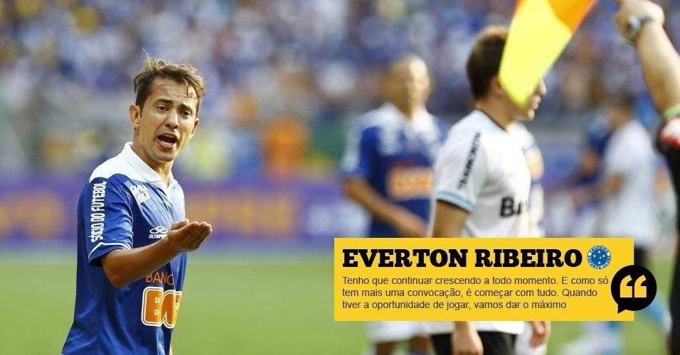 Everton Ribeiro (Cruzeiro): Tenho que continuar crescendo a todo momento. E como só tem mais uma convocação, é começar com tudo. Quando tiver a oportunidade de jogar, vamos dar o máximo