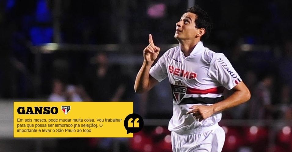 Ganso (São Paulo): Em seis meses, pode mudar muita coisa. Vou trabalhar para que possa ser lembrado [na seleção]. O importante é levar o São Paulo ao topo