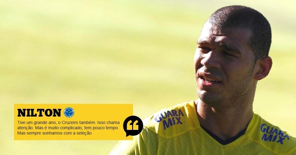 Nilton (Cruzeiro): A gente pensa [em seleção], claro. Tive um grande ano, o Cruzeiro também. Isso chama atenção para o clube. Mas é muito complicado, tem pouco tempo, mas sempre sonhamos com a seleção