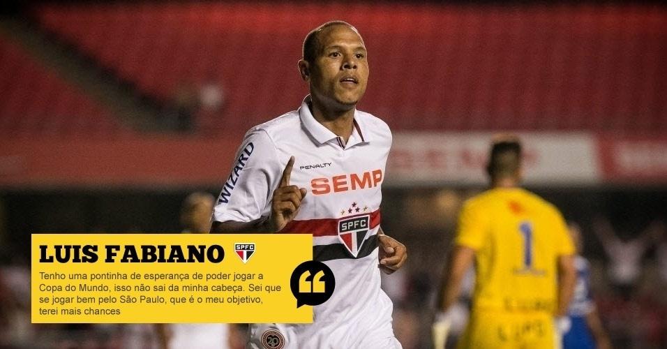 Luis Fabiano (São Paulo): Tenho uma pontinha de esperança de poder jogar a Copa do Mundo, isso não sai da minha cabeça. Sei que se jogar bem pelo São Paulo, que é o meu objetivo, terei mais chances