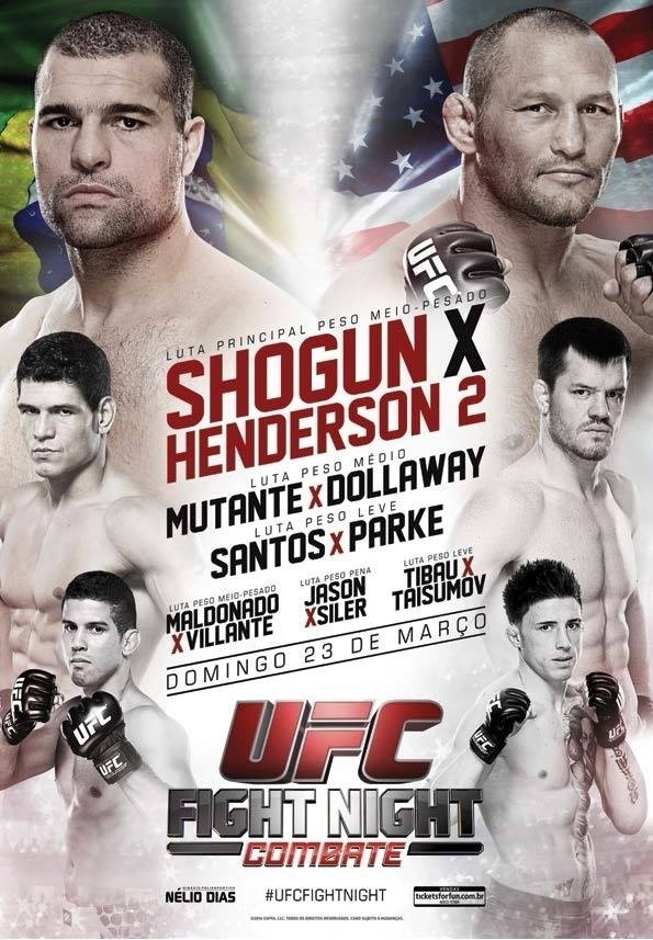 Pôster do UFC Natal destaca revanche entre Maurício Shogun e Dan Henderson, além de Mutante e Léo Santos