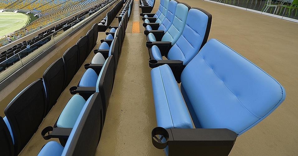 Torcedores comprovadamente obesos têm direito a assentos especiais durante a Copa do Mundo, como revelado pelo UOL Esporte. Essa imagem mostra o lugar reservado para eles no estádio do Maracanã.
