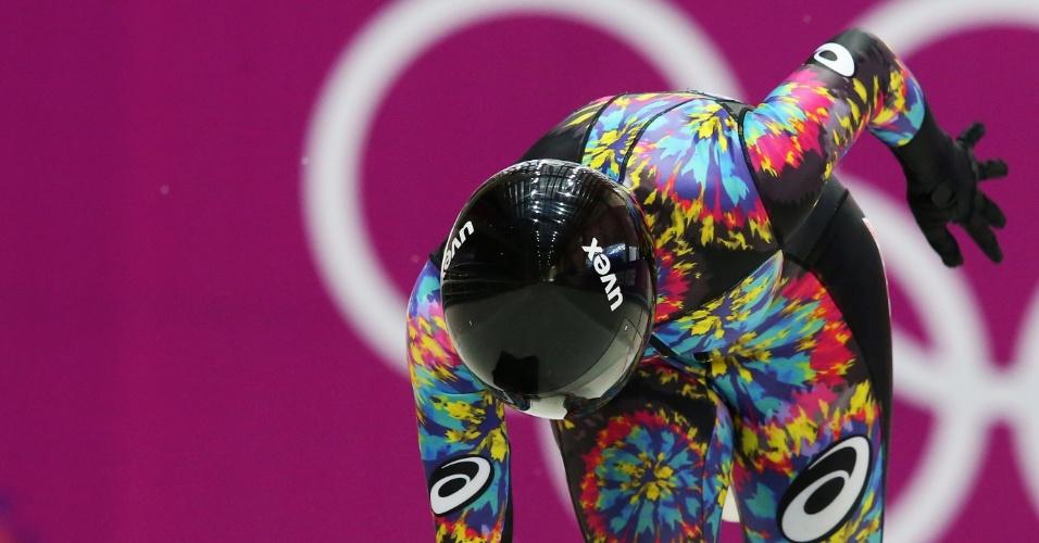 08.02.2014 - Japonesa Nozomi Komuro exibe um visual bastante diferente no Skeleton dos Jogos Olímpicos de Inverno
