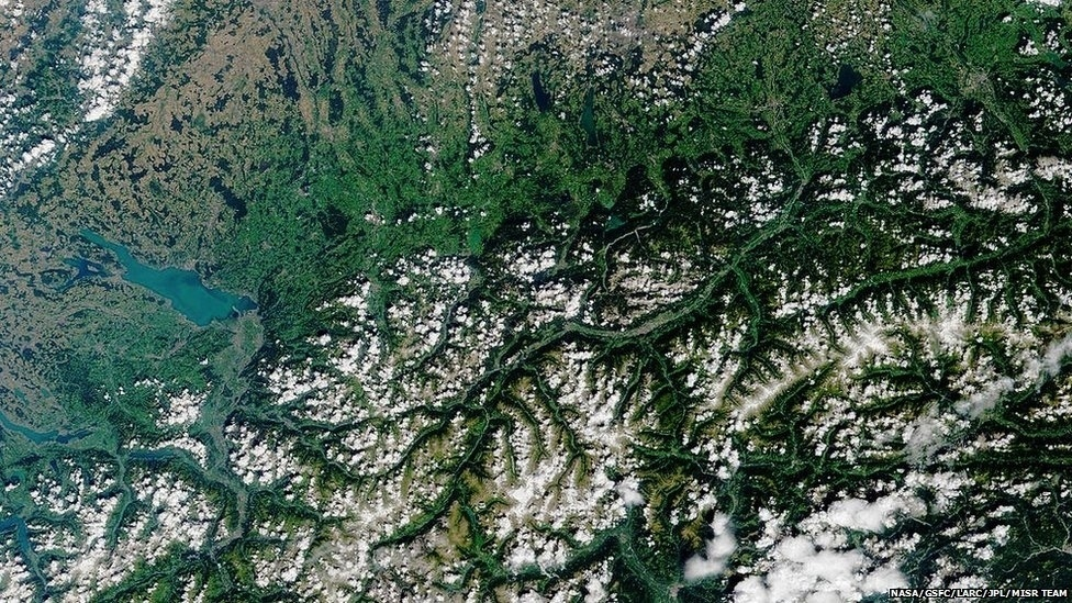 Innsbruck, na Áustria, e seus arredores aparecem nesta imagem de 2001, feita por um satélite da Nasa. Innsbruck sediou os Jogos de Inverno de 1964 e 1976.