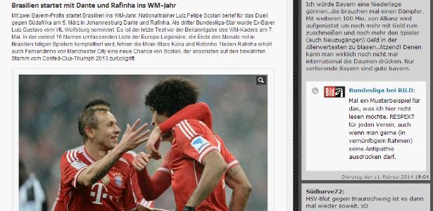 O jornal alemão Bild destacou a convocação de dois brasileiros do Bayern de Munique