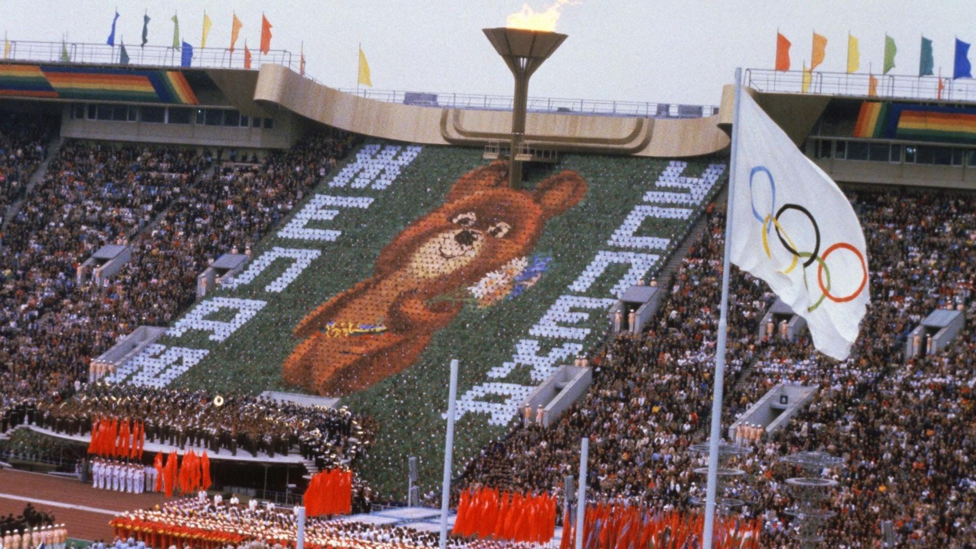 O ursinho Misha virou símbolo das Olimpíadas de 1980