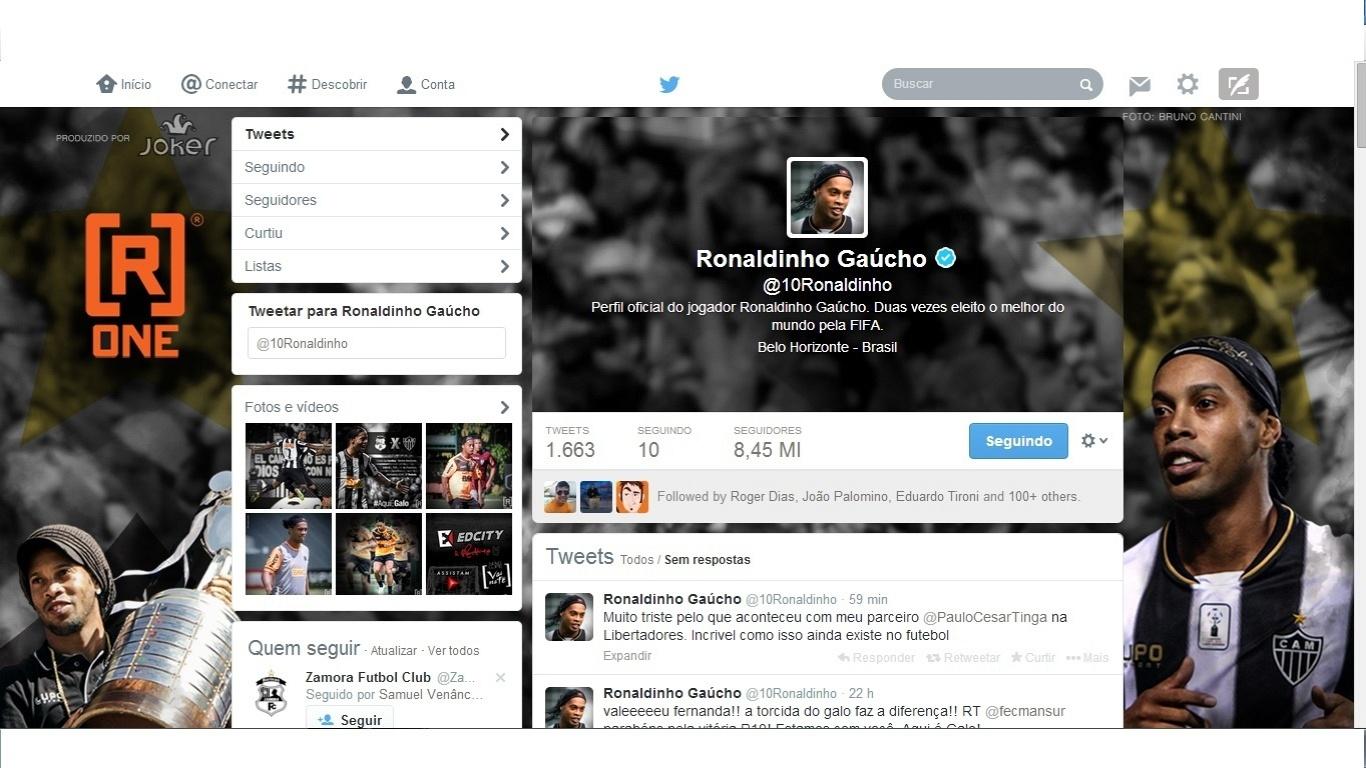 13 fev 2014 - Ronaldinho Gaúcho manifesta seu apoio ao