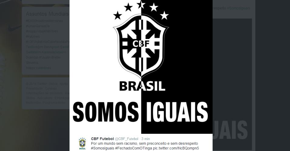 13.02.14 - CBF divulga imagem contra o racismo após ofensas de torcedores do Garcilaso a Tinga