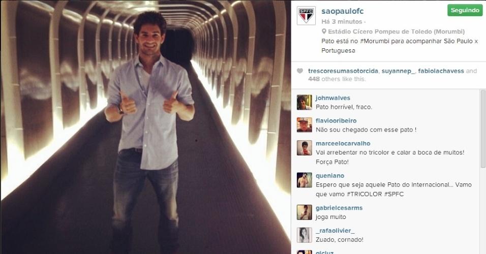 15.fev.2014 - Pato vai ao Morumbi para assistir ao jogo entre São Paulo e Portuguesa pelo Campeonato Paulista