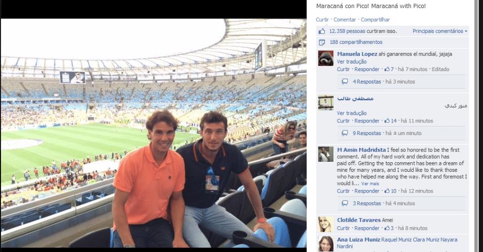 16.02.14 - Rafael Nadal e o argentino Juan Monaco assistem a Vasco x Flamengo, no Maracanã