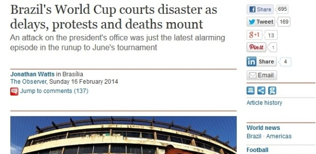 Jornal inglês destaca atrasos nas obras, risco de exclusão de Curitiba e temor por protestos na Copa