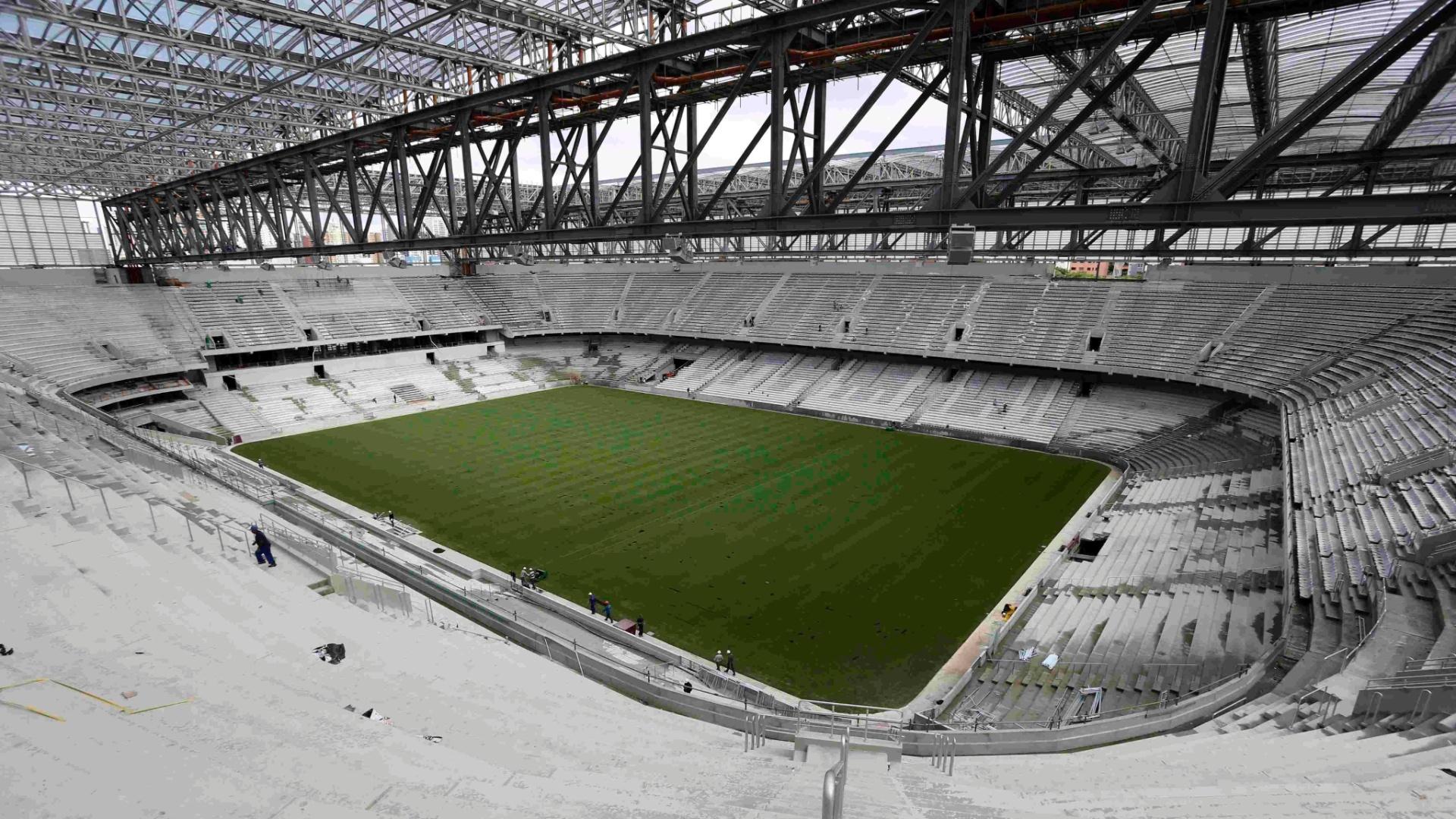 17.fev.2014 - Obra da Arena da Baixada atinge 91%, a mais atrasada entre as cinco arenas que continuam em obras
