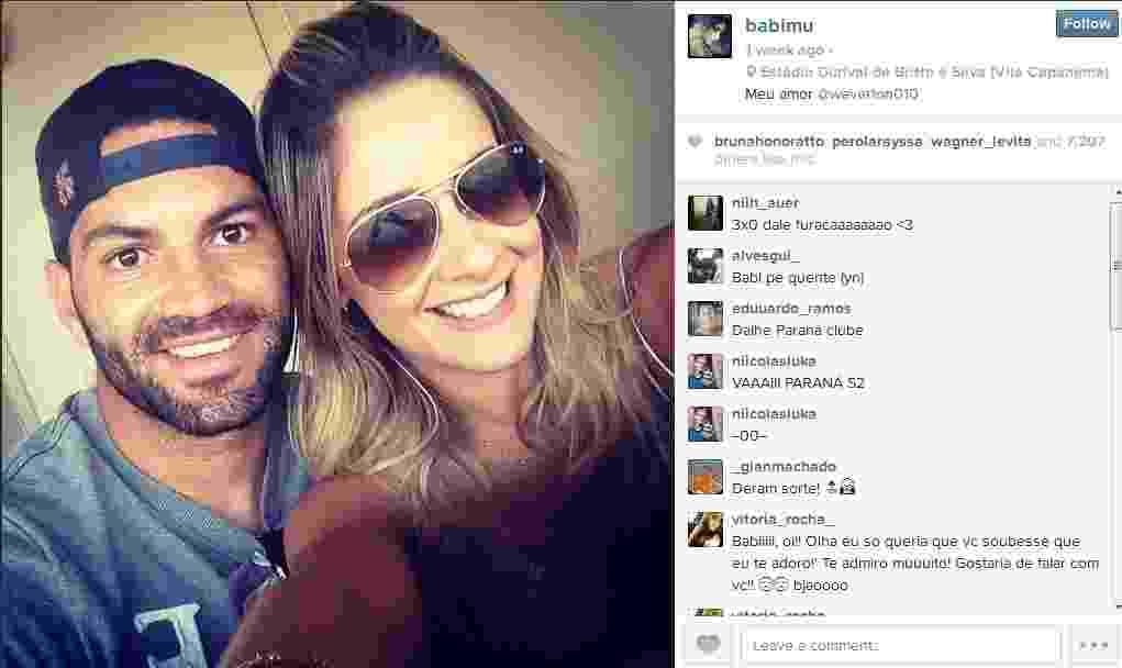 Goleiro do Atlético-PR, Weverton namora a panicat Babi Muniz - Divulgação