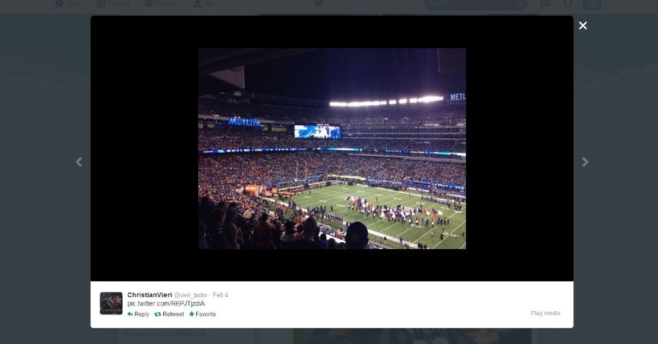 Vieri posta foto do estádio Metlife, palco do Super Bowl entre Denver Broncos e Seattle Seahawks