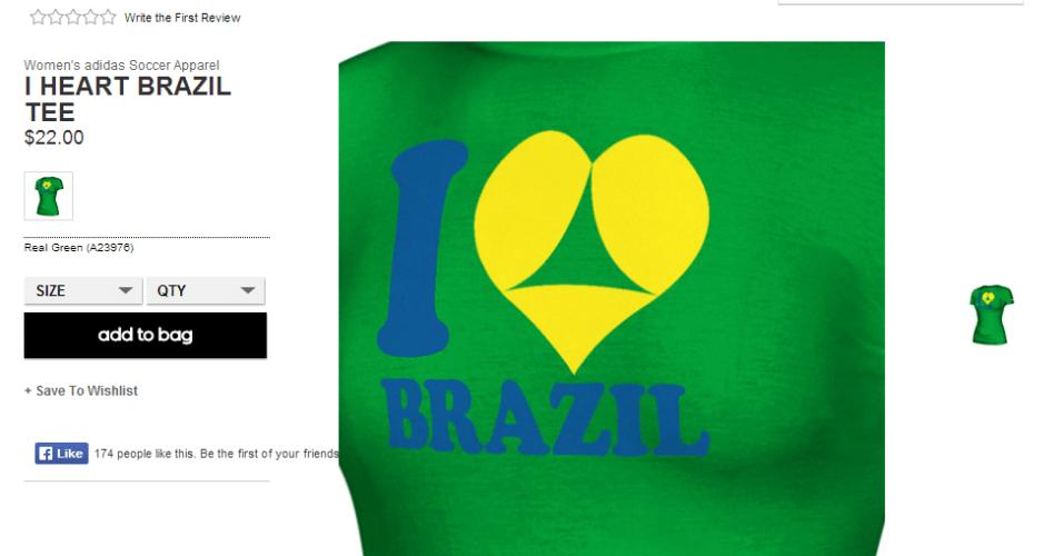 """A Adidas lançou duas camisetas relacionadas à Copa no Brasil que têm gerado polêmica. Uma delas - em detalhe na imagem - mostra um coração em """"Eu amo Brasil"""" que é representado como um bumbum de biquíni. A conotação sexual fez a Embratur protestar contra o produto"""