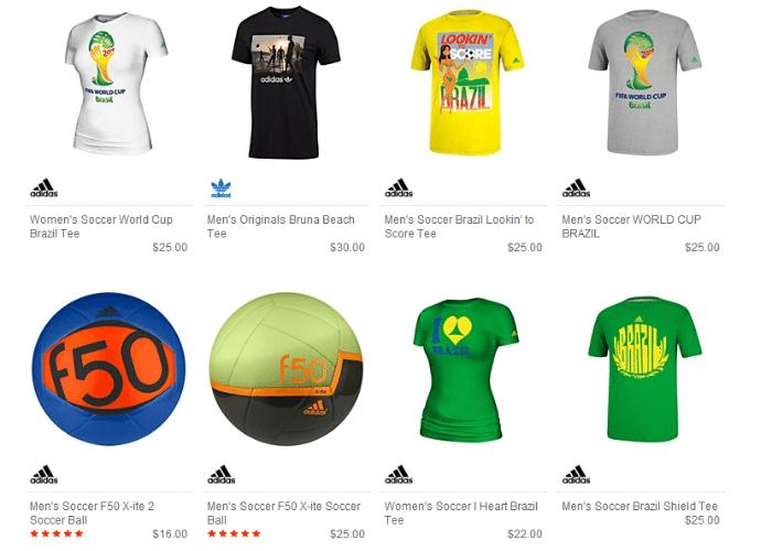 As camisetas polêmicas da Adidas estão à venda no site dos EUA da empresa e custam US$ 22 e US$ 25 - cerca de R$ 50 e R$ 60