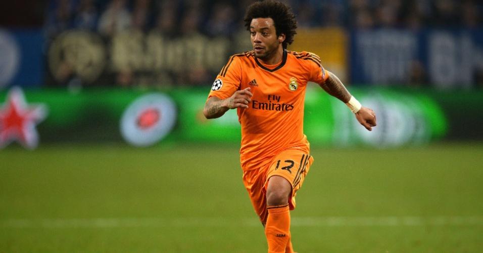 26.fev.2014 - Lateral esquerdo Marcelo foi titular do Real Madrid na goleada por 6 a 1 sobre o Galatasaray, na Turquia, pelas oitavas da Liga dos Campeões