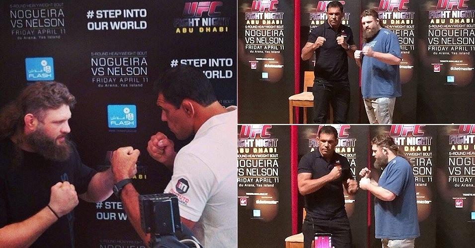 Minotauro encara gordinho Roy Nelson pela primeira vez para divulgar sua volta ao UFC em 11 de abril, em Abu Dhabi