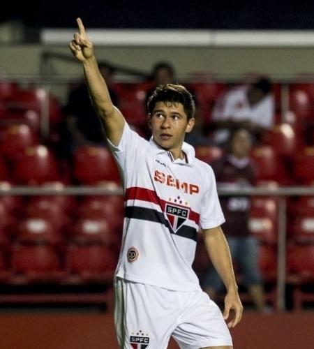 05.03.14 - Osvaldo comemora gol do São Paulo contra o Audax pelo Campeonato Paulista