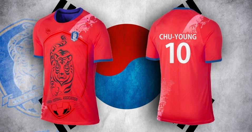 Distintivo da federação da Coreia do Sul foi reproduzido em tamanho gigante na camisa alternativa do país