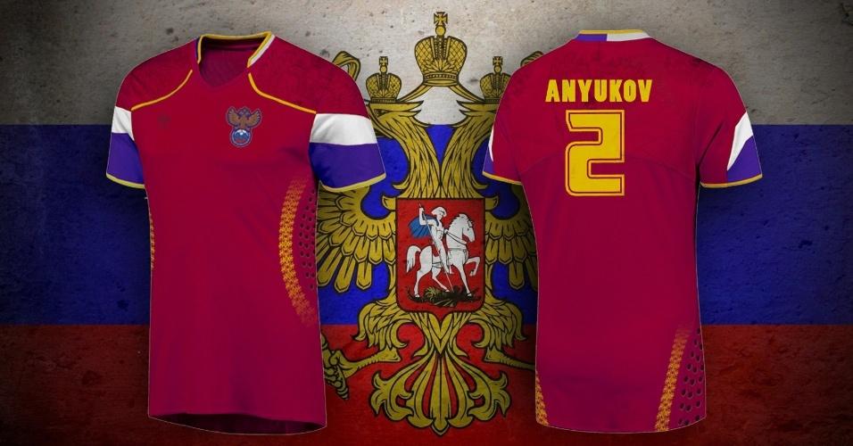 Símbolos da Rússia na camisa alternativa da seleção