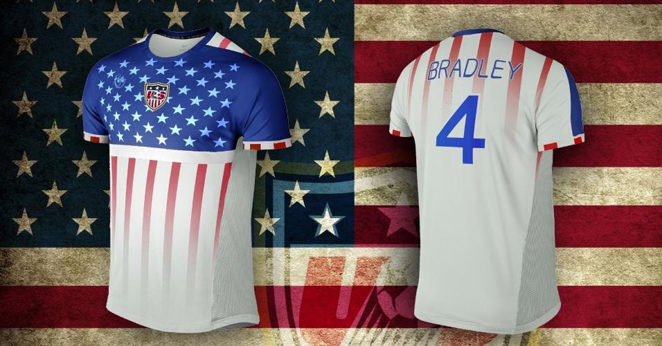 A bandeira dos EUA, com sua parte azul e as estrelas que representam os 50 estados, além das faixas em vermelho e branco, foi a tônica da camisa alternativa