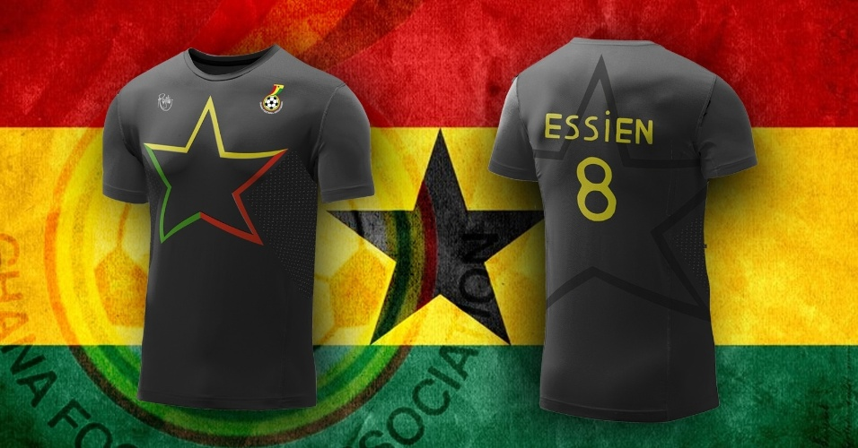 Uma grande estrela com as cores da bandeira de Gana dominou a camisa preta alternativa da seleção