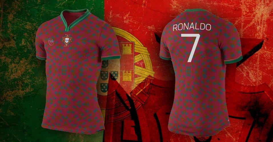 Camisa alternativa de Portugal misturou figuras verdes ao vermelho tradicional