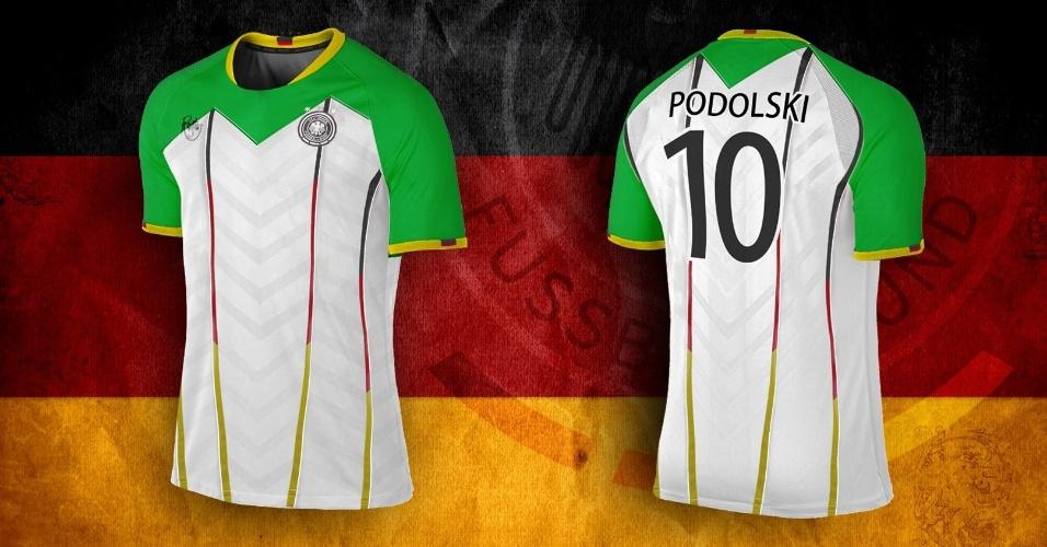 A camisa da Alemanha ganhou ombros e mangas na cor verde, predominante no escudo da federação nacional