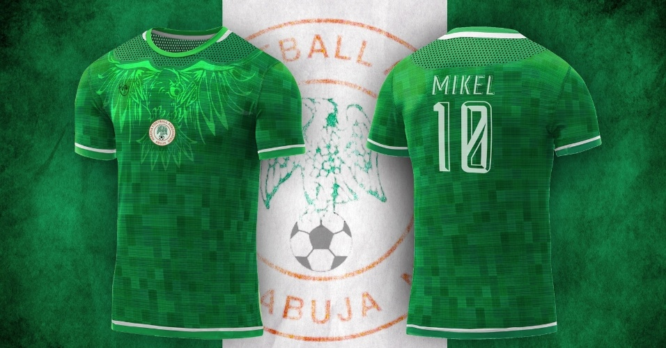 A águia da seleção nigeriana ganhou o topo da camisa alternativa