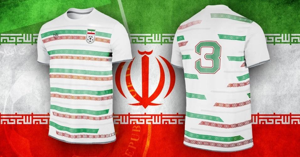 Desenhos típicos da cultura iraniana deram o tom da camisa alternativa do país