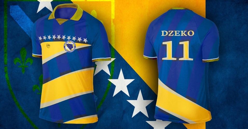 Estrelas da bandeira também deram a tônica na camisa da Bósnia-Herzegóvina