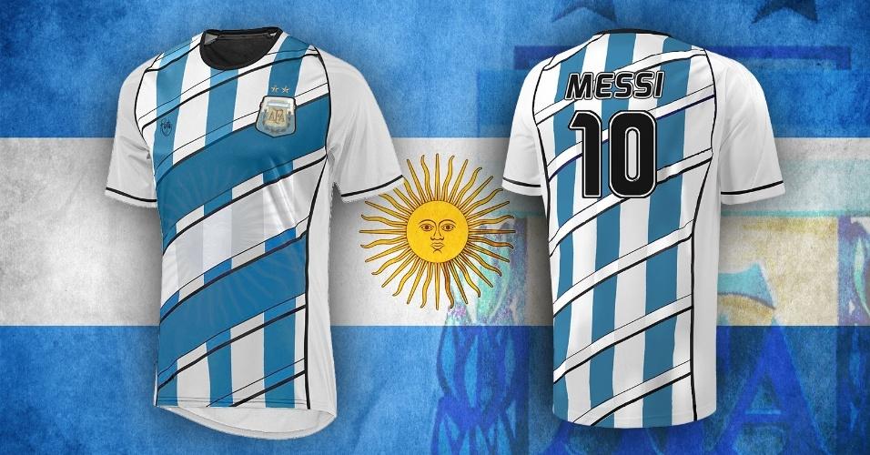 Faixas diagonais se misturaram às tradicionais listras verticais na camisa da Argentina