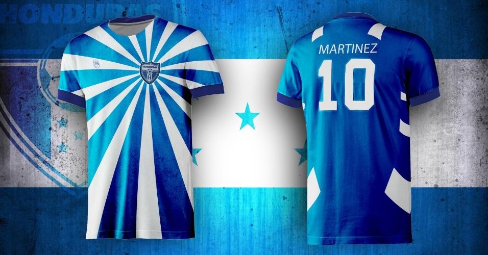 Azul e branco irradiaram na camisa de Honduras