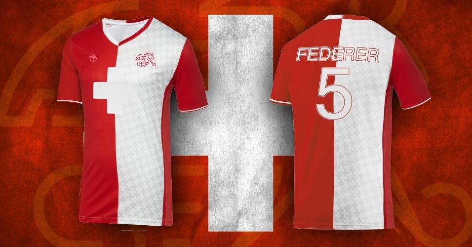 Camisa da Suiça dividiu vermelho e branco no meio e ainda ganhou o nome do tenista Roger Federer nas costas