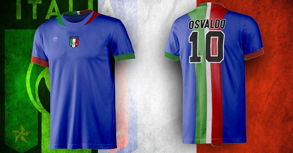 A bandeira italiana 'invadiu' as costas da camisa alternativa, que ainda manteve o tradicional azul