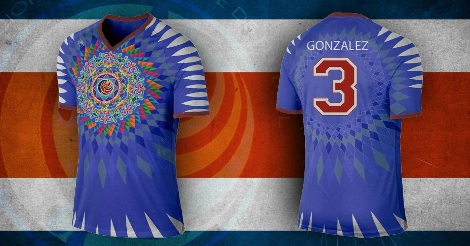 Desenhos que relembram a cultura da Costa Rica também inspiraram a camisa alternativa do país