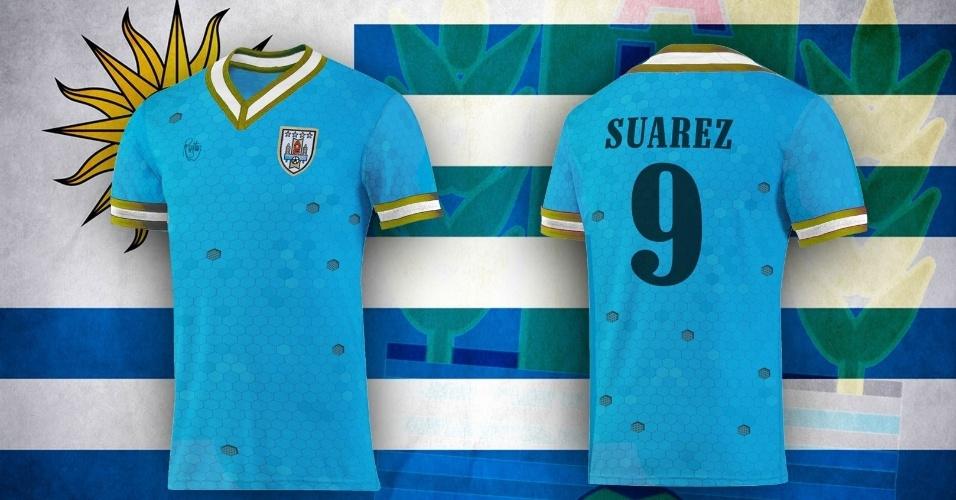 Camisa alternativa do Uruguai ganhou detalhes dourados