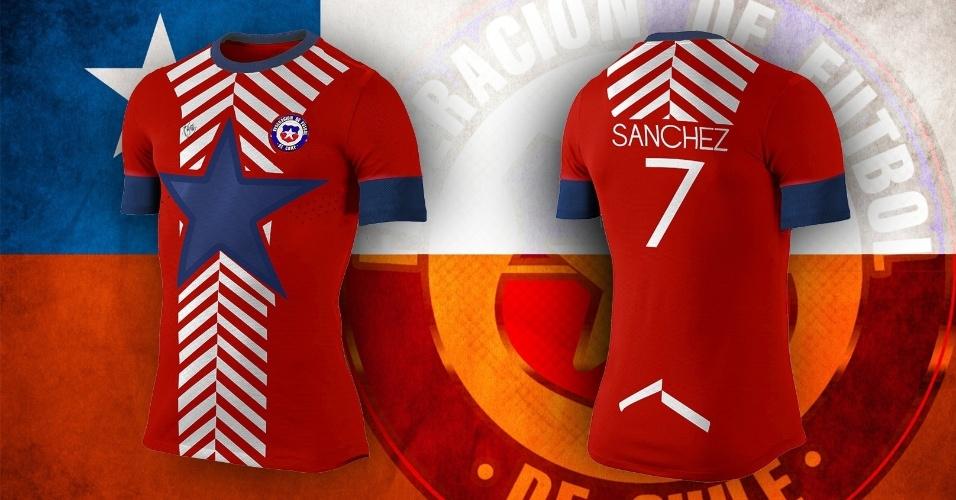 A estrela da bandeira nacional do Chile virou protagonista na camisa alternativa