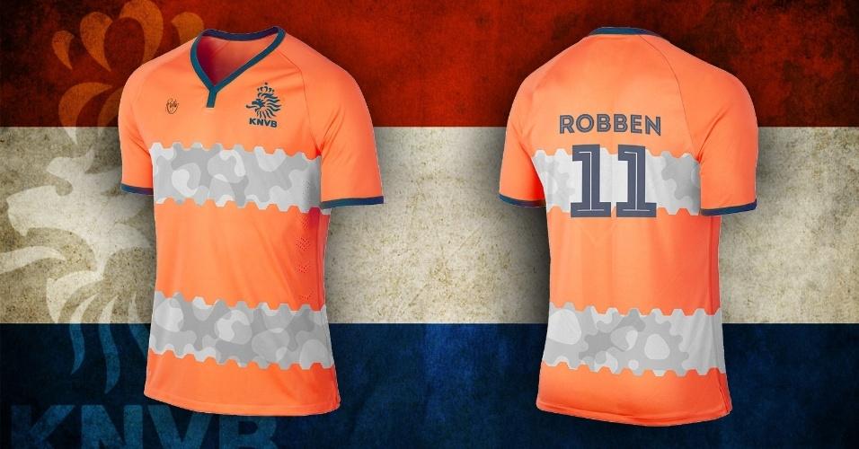 Engrenagens apareceram na camisa da Holanda, reforçando o título de Laranja Mecânica