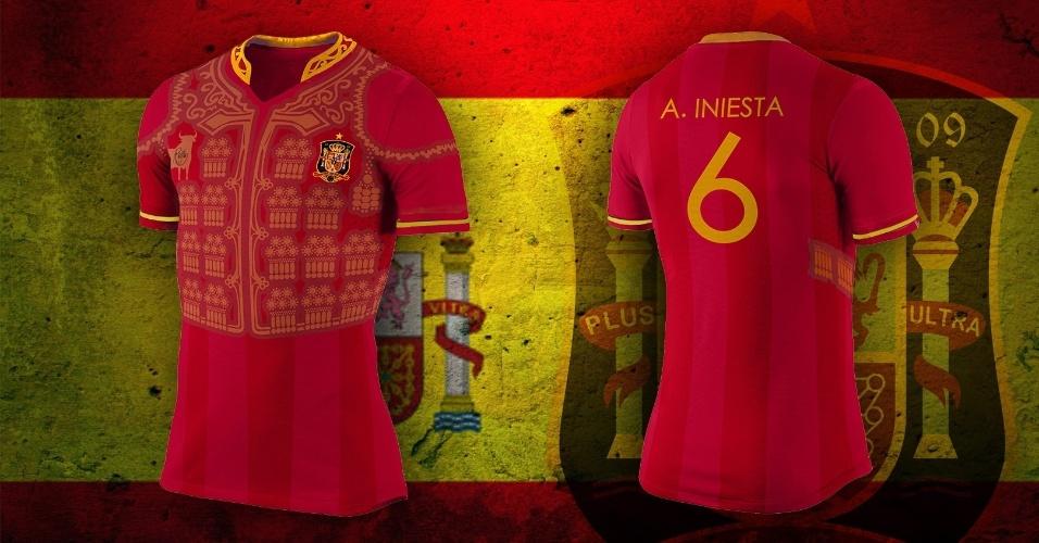 Fardamento típico dos toureiros virou desenho da camisa alternativa da Espanha