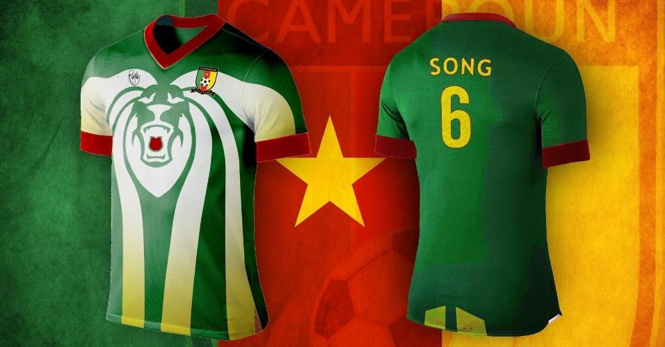O uniforme alternativo de Camarões deu destaque a leão, símbolo da seleção nacional