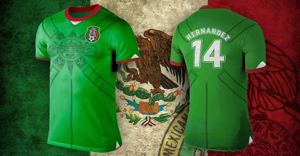 A camisa do México ganhou desenhos típicos da cultura do país no centro do uniforme