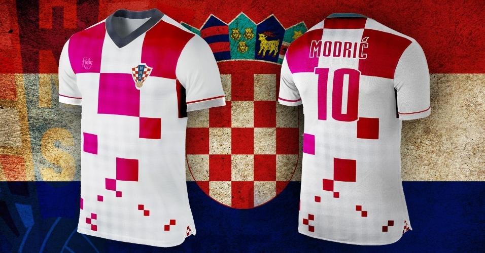 O tradicional xadrez da Croácia ganhou novo desenho e tons diferentes do vermelho