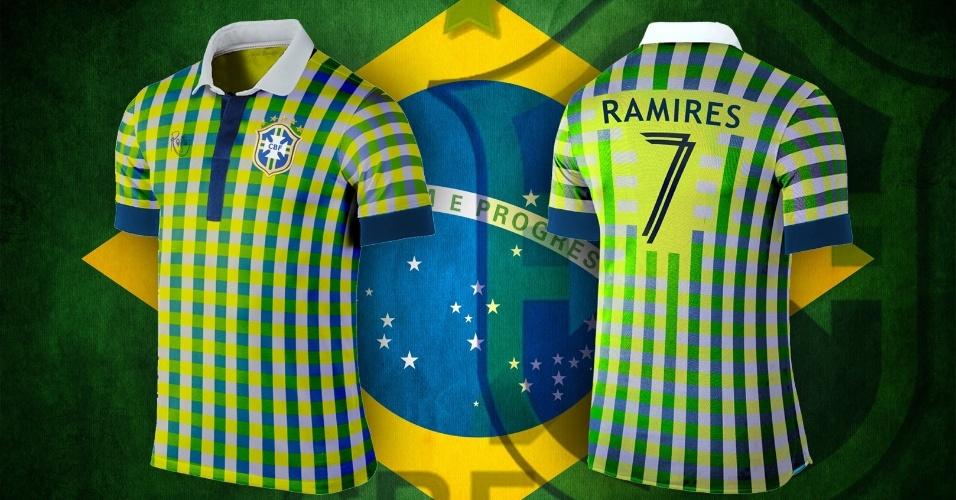 Camisa da seleção brasileira tem um estilo completamente diferente do habitual, com desenho quadriculado que junta as cores da bandeira nacional