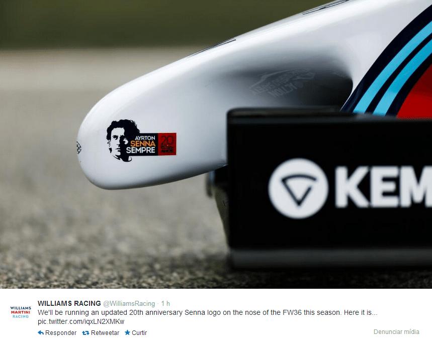 07.03.14 - Detalhe do rosto de Ayrton Senna no bico do novo carro da Williams