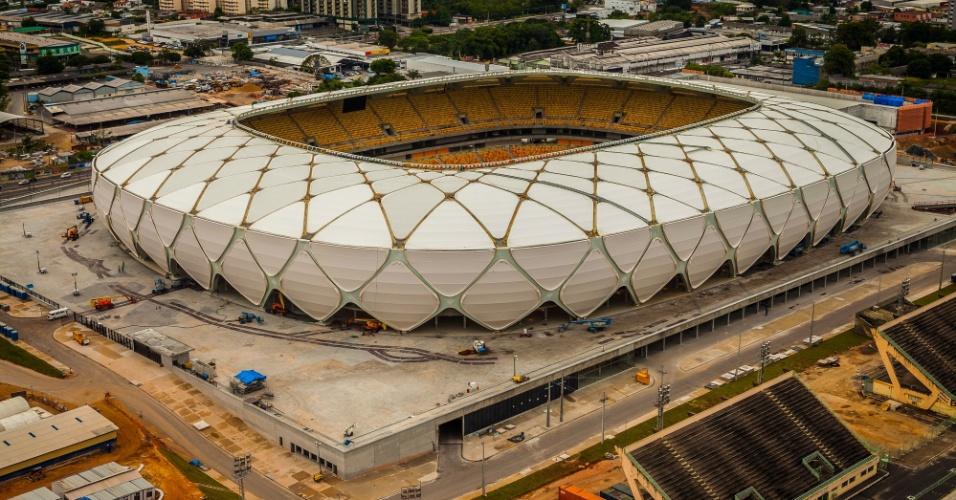 Vista do estádio amazônico em fevereiro deste ano; cores internas são inspiradas em frutos da região