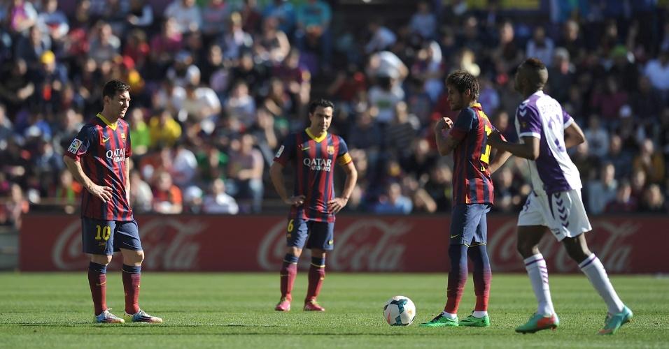 08.03.2014 - Messi, Xavi e Neymar lamentam derrota do Barcelona